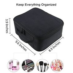 Amazon.com : Portable Makeup Train Case, FLYMEI Waterproof Cosmetic Organizer Kit Make Up Artist Storage for Cosmetics, Makeup Brush Set, Jewelry, Toiletry And Travel Accessories (Black) : Beauty