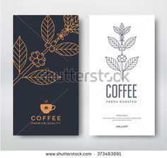 Packaging design for coffee. Vector template. Line style vector illustration. Coffee branch. - stock vector