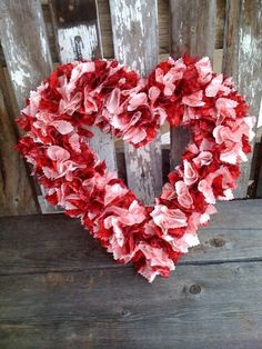 Valentine scrap fabric Wreath
