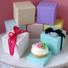 50th anniversary cupcake favor boxes   home do it yourself favors do it yourself cupcake box favors Anniversary Cupcakes, 25th Anniversary, Cupcake Boxes, Wedding Cakes With Cupcakes, 9th Birthday, Favor Boxes, Wedding Bells, 50th, Favors