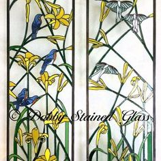 Stained Glass Panels / Sidelites - Day Lilies by Debbie Lacek