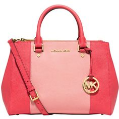 MICHAEL Michael Kors Sutton Striped Saffiano Leather Satchel (1.230 BRL) ❤ liked on Polyvore featuring bags, handbags, zipper purse, red purse, red satchel handbag, handbag purse and purse satchel