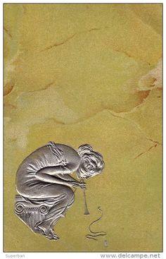 Carte Postale avec effet de matière et relief d'après Raphael Kirchner (vers 1900)