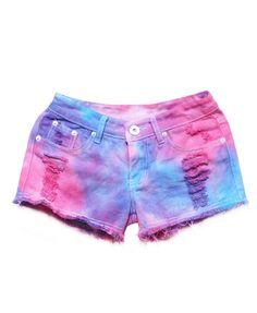 Starry Sky Bandhnu Gradient Color Denim Shorts