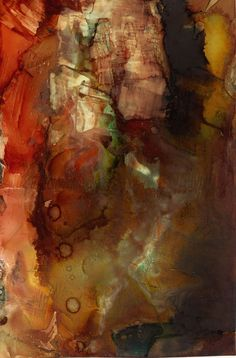 """The Crucible"" 11""x5"" Alcohol Ink on Yupo Painted by Lou Jordan, contemporary artist from New Orleans"