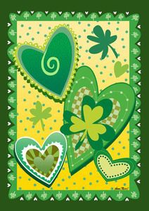 """Heart o' the Irish Garden Flag Description: Keep Irish eyes smiling with this St. Patrick's Day garden flag. Highlighting the holiday with green hearts and clovers, a happier and more appropriate garden flag for St Patrick's day can't be found! Perfect for the holiday or all-year long at your favorite Irish household! Product features: 12.5""""x18"""" Made in the USA Permanently Dyed Weather Proof"""