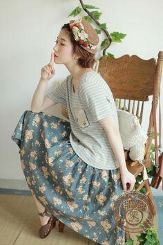 mori fashion floral & stripes
