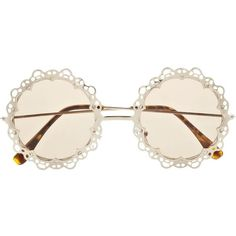 River Island Gold Tone Metal Filigree Round Sunglasses ($21) ❤ liked on Polyvore