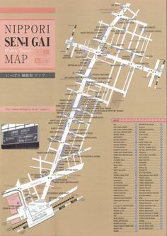 Nippori Textile Town map  Fabric stores galores