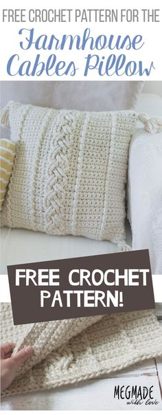 FREE Crochet Pattern for the Comfy Cables Farmhouse Pillow Cover — Megmade with Love crochet pillow Crochet Cushion Cover, Crochet Cushions, Sewing Pillows, Cushion Covers, Crochet Pillow Covers, Diy Crochet Pillow, Duvet Covers, Crochet Afghans, Crochet Pillow Patterns Free