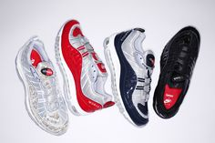 Les 4 coloris de la collection Supreme x Nike Air Max 98 © Supreme
