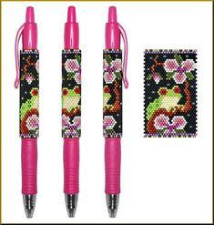 Tree Frog Rhapsody in Pink Pilot G2 Peyote Pen Cover Pattern