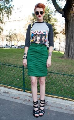 band shirt fitted skirt