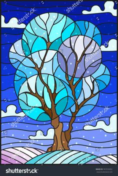 Photo about Illustration in stained glass style with winter tree on sky background with the snow. Illustration of frost, sample, leaves - 105227902 Stained Glass Quilt, Stained Glass Patterns, Landscape Quilts, Tree Illustration, Illustrations, Arte Pop, Winter Trees, Elementary Art, Tree Art