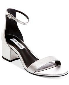 6c3f96f6e55beb Steve Madden Women s Irenee Two-Piece Block-Heel Sandals - Silver 7.5M  Womens