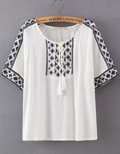 White Knotted Collar Tribal Embroidered Blouse 17.50
