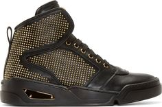 Versace Black Leather Gold Studded High-Tops