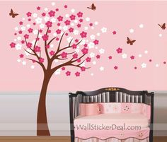 Cherry Blossom Tree with Butterfly Wall Sticker