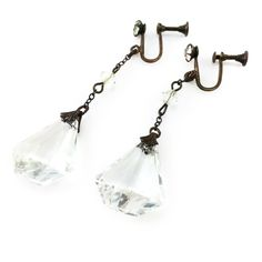 Antique Austrian Crystal Dangle Earrings Screw Back Posts Large Faceted Stones from The Pardosa Company