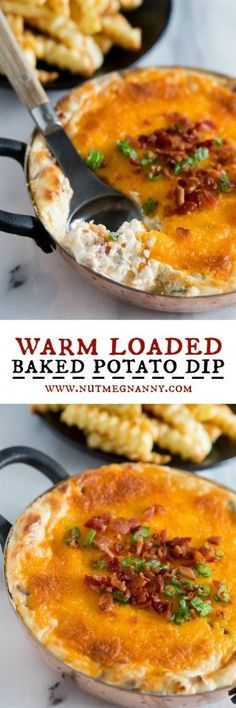 This warm loaded baked potato dip is served hot and full of delicious flavor. Packed full of cream cheese, sour cream, green onions, bacon and of course CHEESE! Perfect when served with french fries or potato chips!