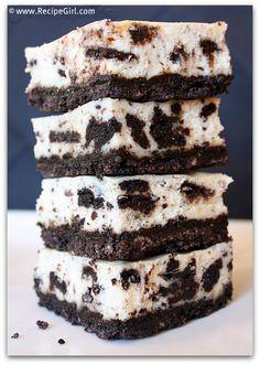 Cookies and Cream Cheesecake Bars from the @RecipeGirl {recipegirl.com} -these look amazing!