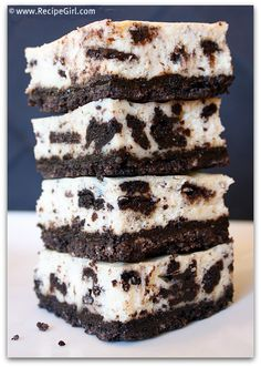 Cookies and Cream Cheesecake Bars from the @RecipeGirl {recipegirl.com} {recipegirl.com} {recipegirl.com}  -these look amazing!