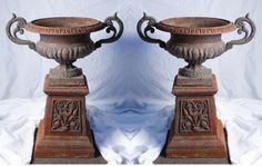 Pair 19th C. Victorian Cast Iron Urn Planters