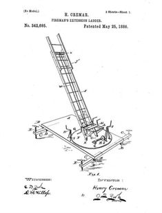 Original Patent Drawing: EXTENSION LADDER  #PatentDrawing