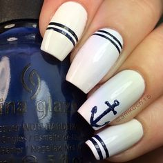 45 pearl white with light blue french tips 62 fabulous using first matei did the anchor and stripes with a thin nail art brush prinsesfo Image collections