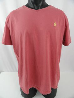 Polo Ralph Lauren Mens XL V-Neck Mauve/Rose T-Shirt Cotton Yellow Polo Pony VGC #PoloRalphLauren #BasicTee