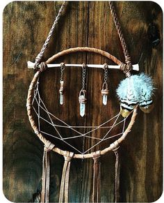 Hyggelig - Handcrafted Bone, Leather, Feather and Crystal Light Catcher Dream Catcher Art, Dream Catcher Mobile, Craft Font, Crafts To Do, Suncatchers, Wiccan, Wind Chimes, Feather, Crafty