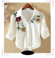 Nou! Tricou de dama brodat, un top cu model floral, de vara, cu broderie si funda, slim, imbracaminte pentru femei