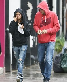 She looks cute eating crepes. ------ Mila Kunis and Ashton Kutcher make a pit stop at a crepe stand while out and about in London on a rainy Wednesday, May 15.  The couple is currently in town while Mila films Jupiter Ascending alongside Channing Tatum and Eddie Redmayne.