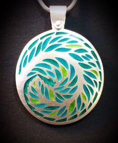 Kate Case. Pendant - fine silver and vitreous enamel