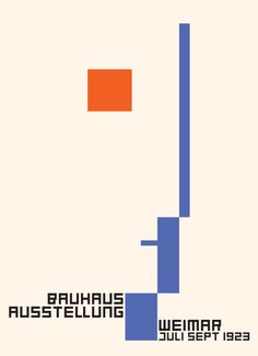 Bauhaus exhibition poster designed by Frtiz Schleifer in 1923. The symbol of the Bauhaus, a head of geometric elements was designed by Oskar Schlemmer.