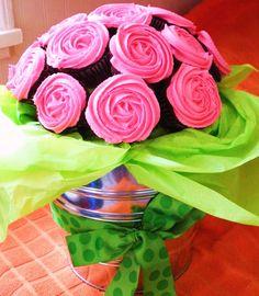 Pink Rose Chocolate Cupcake Bouquet