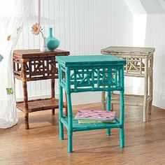 rattan side tables - I had two of these, but I cannot decide which beachy themed color I want to paint them!