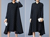 BLACK Polka Dot Plus Size Maxi Shirt Hooded Dress
