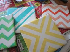 DIY Painted tile coasters using painter's tape. Maybe I could use this idea to make a small trivet.