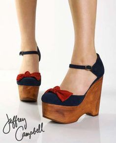 Jeffrey Campbell Daisy D Bow Navy Suede Platform Wedges ~  So CUTE!