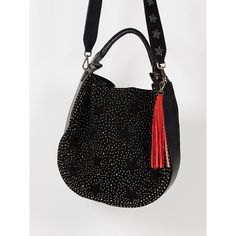 Aurora Studded Hobo ($50) ❤ liked on Polyvore featuring bags, handbags, shoulder bags, studded purse, suede hobo handbags, suede purse, suede handbags and hobo purses