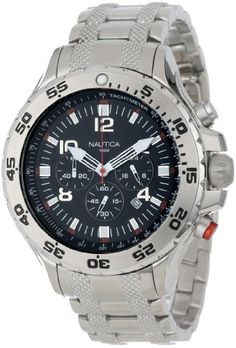 Nautica Men's NST Chronograph Watch, with a video. Casual Watches, Cool Watches, Watches For Men, Gadget Watches, Silver Man, Sport Watches, Casio Watch, Omega Watch, Chronograph