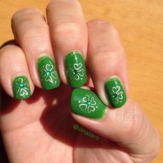 St. Patrick's Day Shamrock stamping nail art.
