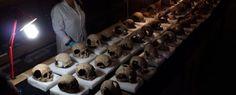 Tzompantli, hallan 350 cráneos en el altar de Tenochtitlán