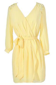 Brighten Up Yellow Lace Trim Three Quarter Sleeve Dress  www.lilyboutique.com
