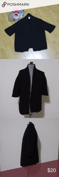 Chaus Black Short Sleeve Thick Knit Cardigan Please read about this cute Chaus cardigan:  Size: S Color: black Design: open cardigan Neckline: open Sleeves: short Materials: 60% cotton, 40% acrylic  Measurements (approximate) Length: 27 inches inches Underarm to underarm (laying flat): 19 inches  Condition: great like new condition with no flaws  Occasion(s): casual with jeans, scarf, and boots, Wear to Work with a skirt or a sheath dress, with a cocktail dress for winter/fall weddings, etc…