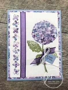 Hydrangea Bloom, Hydrangea Flower, Stampin Up Karten, Flower Outline, Card Tutorials, Video Tutorials, Stamping Up Cards, Little Flowers, Flower Cards