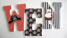 Custom Decorated Wooden Letters PIRATE Theme Nursery by LetterLuxe, $20.00