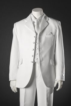 First Communion Suit: Boys White 5 Button Suit by BJK $82.50
