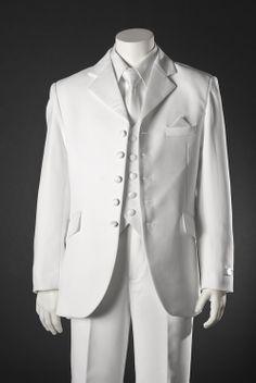 First Communion Suit: Boys White 5 Button Suit by BJK $82.50